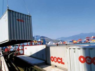 OOCL loading container
